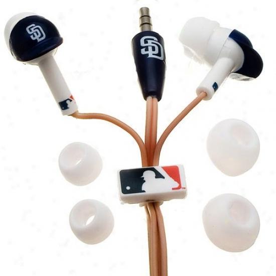 San Diego Padres Navy Blue Team Logo Helmet Earbud Headphones