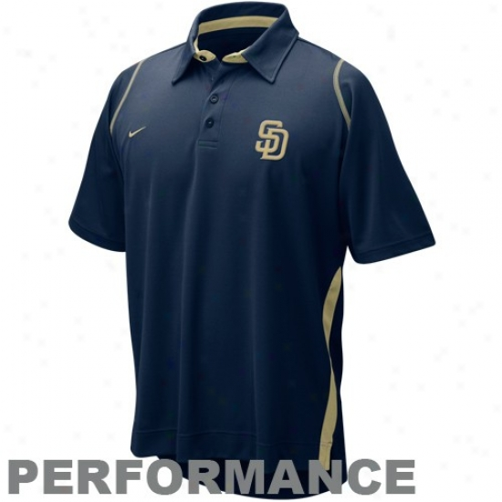 San Diego Padres Polos : Nike San Diego Padres Ships of war Blue Dri-fit Performance Polos