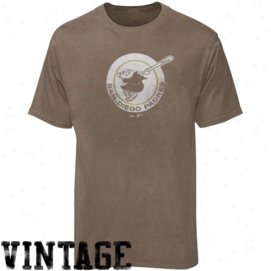San Diego Padres Shirt : Majestic San Diego Padres Brown Cooperstown Logos Shirt