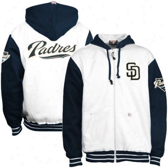 San Diego Padres Stuff: San Diego Padres White Full Zip Hoody Sweatshirt