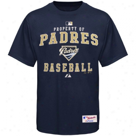 San Diego Padres T-shirt : Majestic Sam Diego Padres Navy Blue Character Of T-shirt