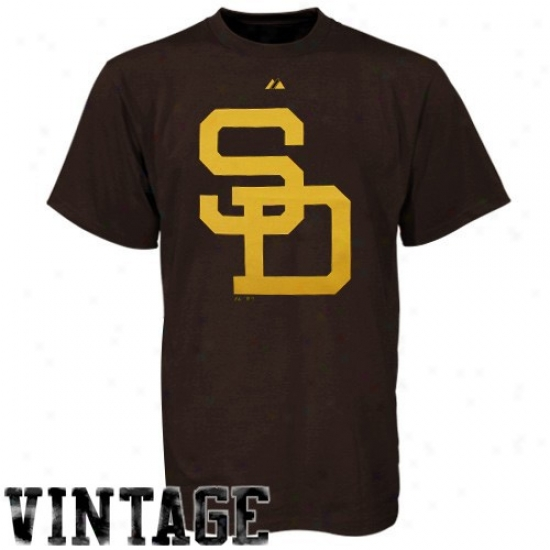 San Diego Padres T Shirt : Majestic San Diego Padres Youth Brown Cooperstown Official Logo T Shirt