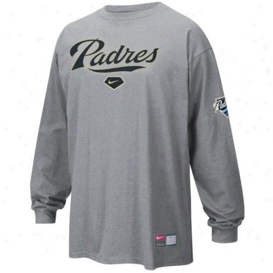 San Diego Padres Tees : Nike Szn Diego Padres Ash Mlb Practice Long Sleeve Tees