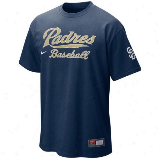 San Diego Padres Tshirt : Nike San Diego Padres Navy Blue Mlb 2010 Practice Tshirt