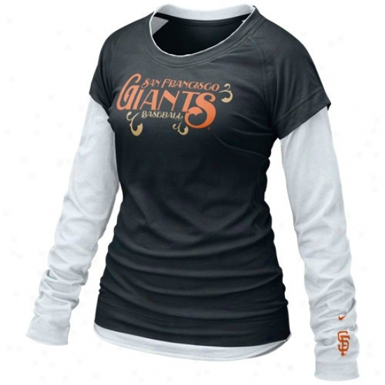 San Francisco Giants Apparel: Nike San Francisco Giants Ladies Black-white Who's My Team Doubl Laysr Long Sleeve T-shirt