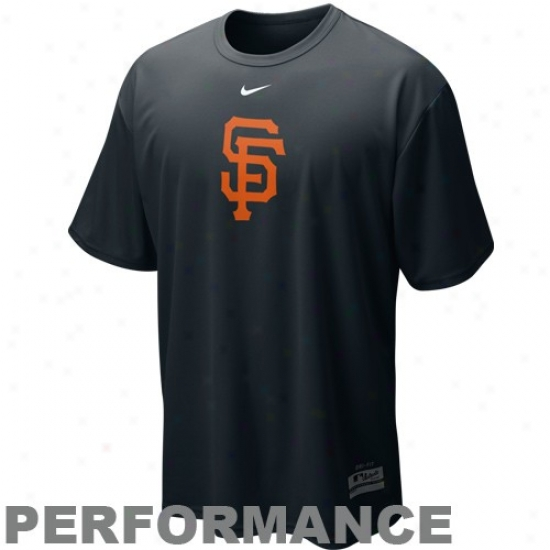 San Francisco Giants Attire: Nike San Francisco Giahts Black Nikefit Mlb Logo Performance T-shirt