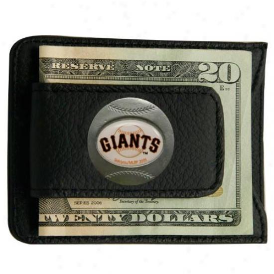 San Francisco Giants Black Leather Card Holder & Money Cilp