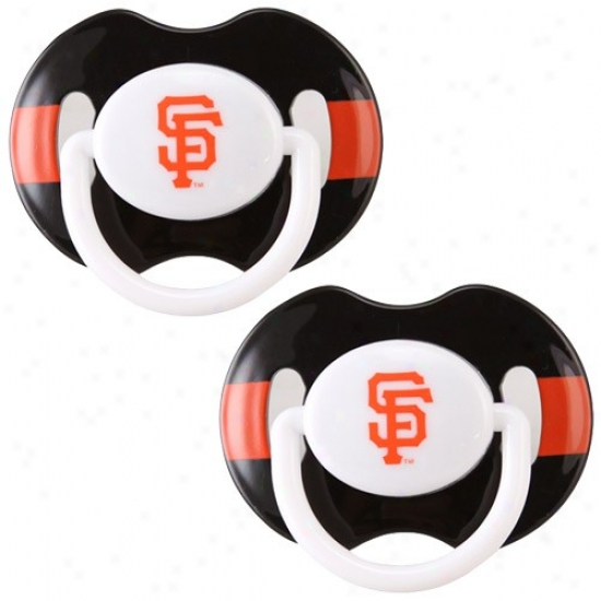 San Francisco Giants Black-orange Striped 2-pack Team Logo Pacifiers