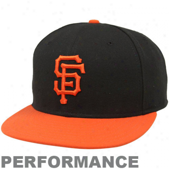 San Francisco Giants Hats : New Era San Francisco Giants Black-orange On-field Authentic 59fifty Performance Fitted Hats