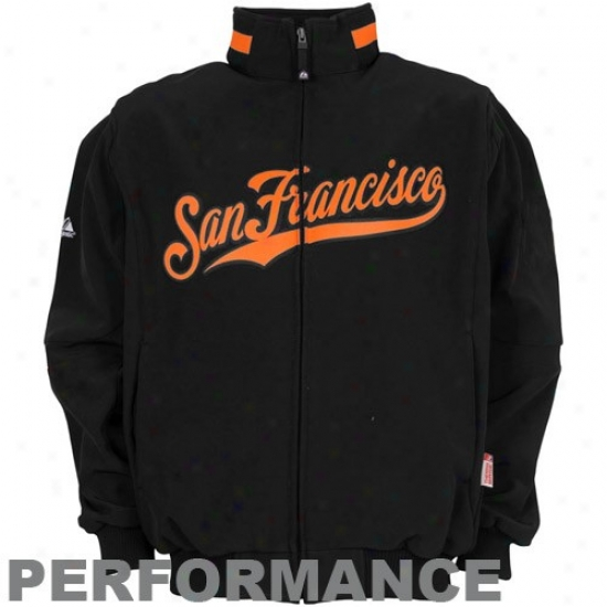 San Francisco Giants Jerkin : August San Francisco Giants Youth Black Therma Inferior Premier Elevation Playing Jacket