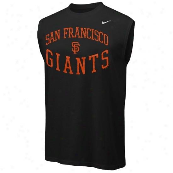 San Francisco Giants Shirts : Nike San Francisco Gianfs Black Team Logo Sleeveless Shirts
