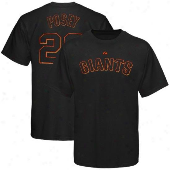 San Francisco Giants T Shirt : Majestic San Francisco Giants #28 Buster Posey Black Player T Shirt