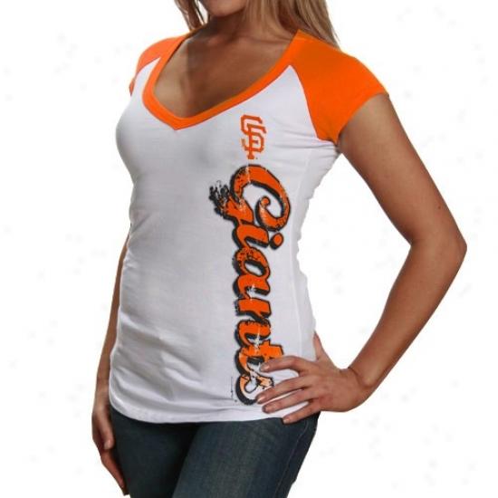 San Francisco Giants T-shirt : San Francisco Giants Ladies White Side Script V-neck Raglan T-shirt