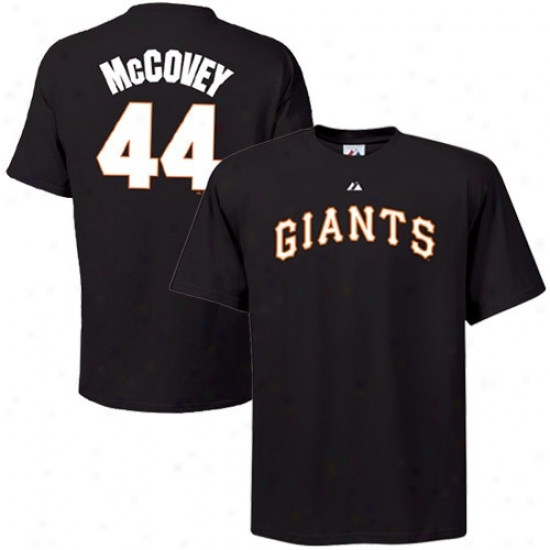 San Francisco Giants Tee : Majedtic San Francisco Giants #44 Willie Mccovey Black Cooperstown Player Tee
