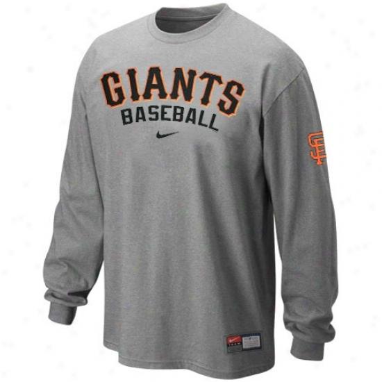 San Francisco Giants Tee : Nike San Feancisco Giants Ash Mlb Practice Long Sleeve Tee