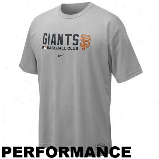 San Francisco Giants Tee : Nike San Francisco Giants Gray Nikefit Team Issue Performance Training Top