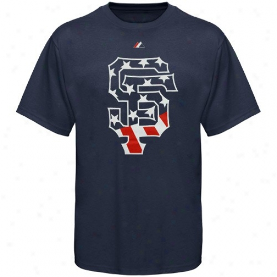 San Francisco Giants Tees : Majestic San Framcisco Giants Ships Blue Staars & Stripes Logo Tees