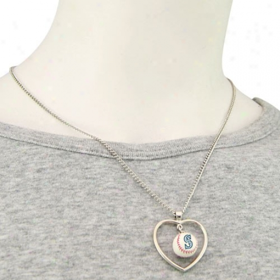 Seattle Mariners 3d Baseball Heart Pendant Necklace