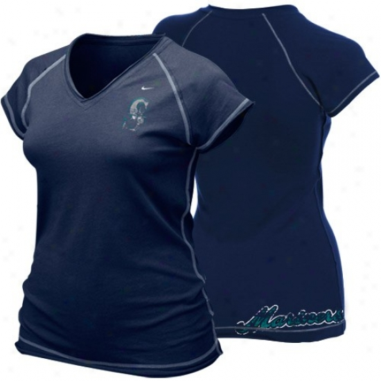 Seattle Mariners Apparel: Nike Seattle Mariners Ladies Navy Blue Bases Loaded T-shirt