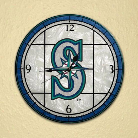 Seattle Mariners Art-glass Clock