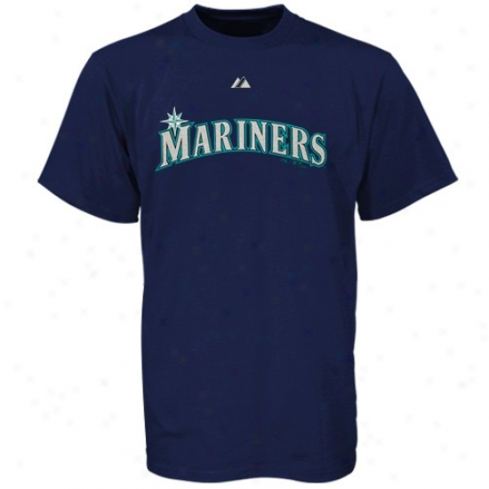Seattle Mariners Attire: Majestic Seattle Mariners Navy Blue Young men Wordmark T-shirt
