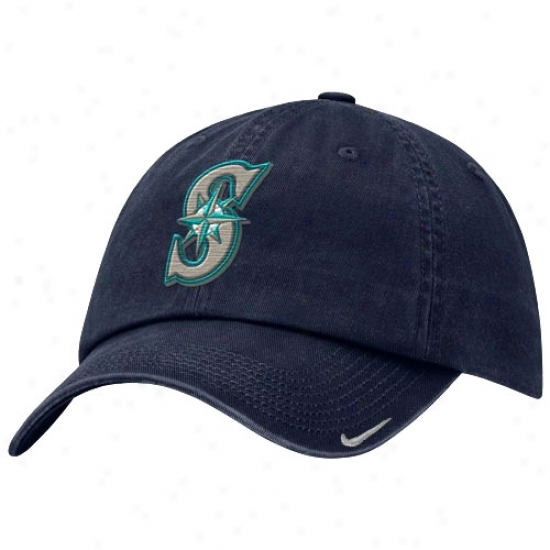 Seattle Mariners Cap : Nike Seattle Marinds Navy Blue Stadium Adjustable Cap