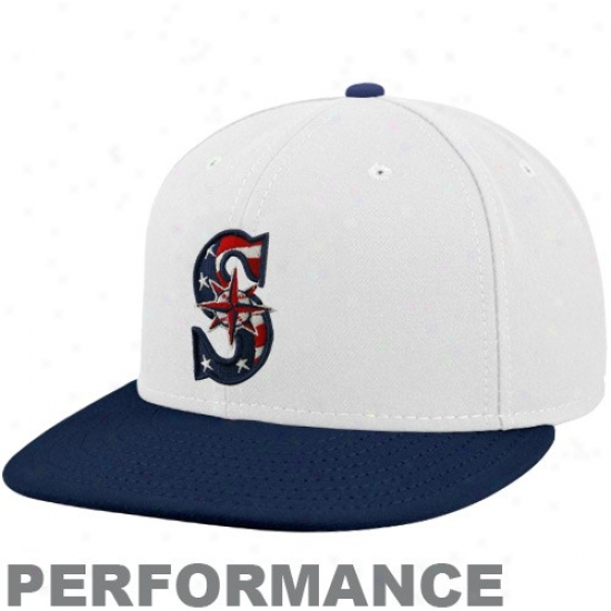 Seattle Mariners Hat : New Era Seattle Mariners White-navy Blue Stars & Stripes On-field 59fifty Fitted Performance Hat
