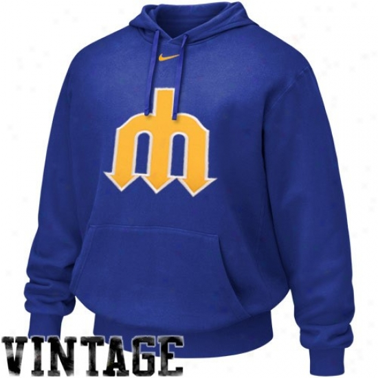 Seattle Mariners Hoodies : Nikee Seattle Mariners Royal Blue Cooperstown Logo Tackle Hoodies