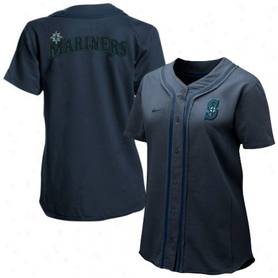 Seattle Mariners Jersey : Nike Seattlee Mariners Ladies Navy Blue Batter Up Full Button Jersey