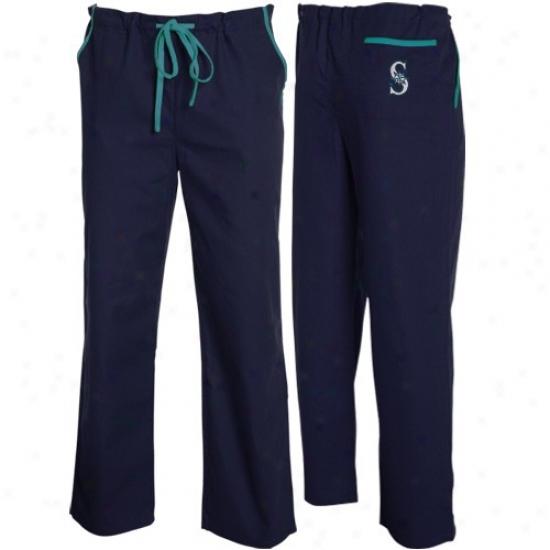 Seattle Mariners Navy Blue Scrub Pants