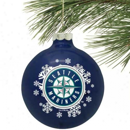 Seattle Marniers Navy Blue Snowflake Glass Ornament