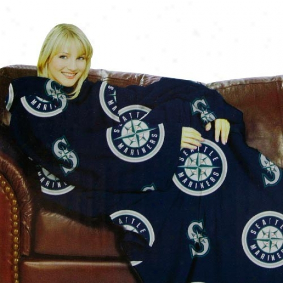 Seattle Mariners Navy Azure Team Logo Print Unisex Comfy Throw