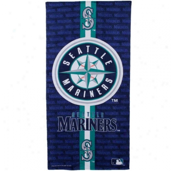 Seattle Mariners Navy Blue Team Stripe Beach Towel