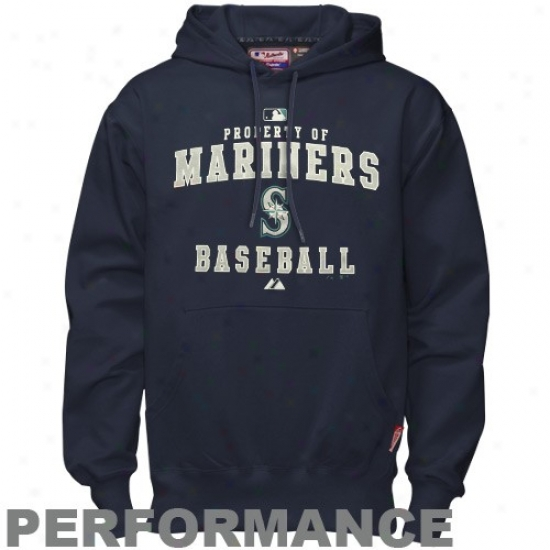 Seattle Mariners Stuff: Majestic Seattle Mariners Navy Blue Property Of Performance Hoody Sweatshirt