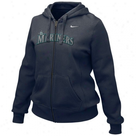 Seattle Mariners Perspiration Shirts : Nike Seattle Marinsrs Ladies Navy Blue Into Seams Full Zip Sweat Shirts