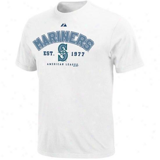 Seattle Mariners T Shirt : Majestic Seattle Mariners White Base Stealer T Shirt