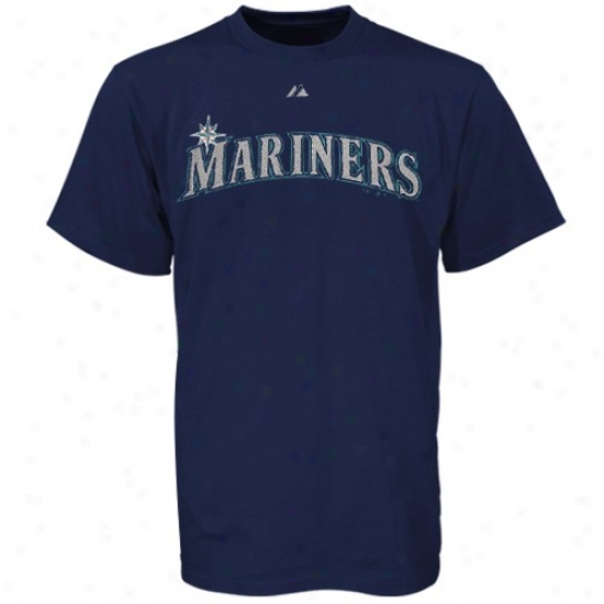 Seattle Mariners T Shirt : Majestic Seattle Mariners Navy Blue Word Mark T Shirt