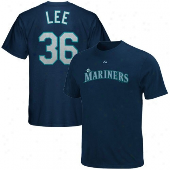 Seattle Mariners T Shirt : Majestic Seattle Mariners #36 Cliff Lee Navy Azure Player T Shirt