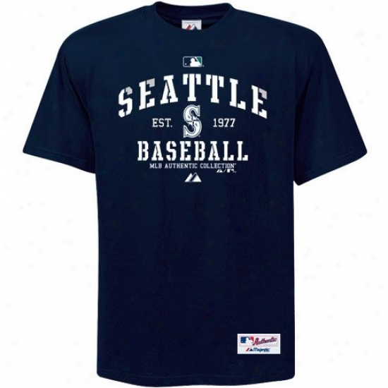 Seattle Mariners T-shirt : Majestic Seattle Mariiners Navy Blue Ac Classic T-shirt