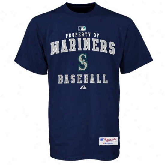 Seattle Mariners Tees : Majestic Seattle Mariners Navy Blue Property Of Heavyweight Tees
