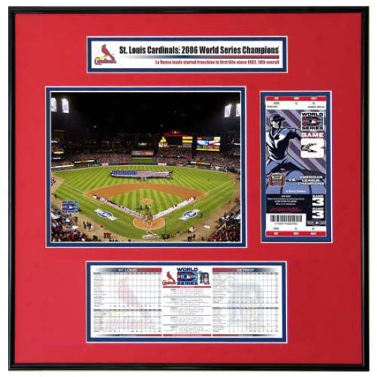 St Louis Cardinals 2006 World Series Champions Game 3 Opening Ceremony Ticket Frame Jr