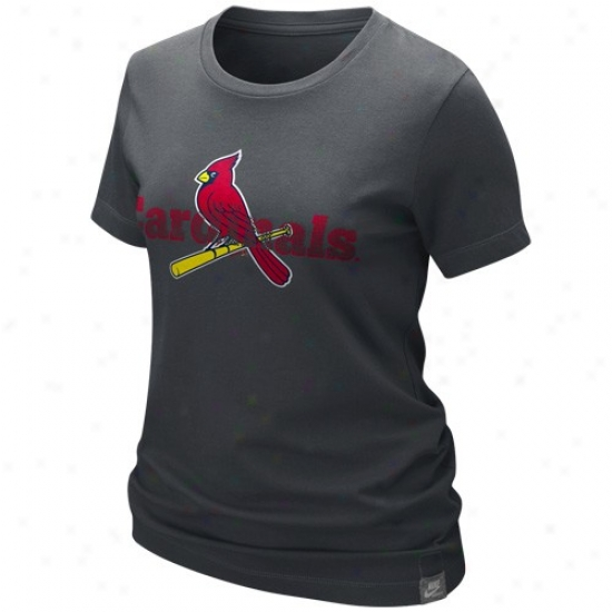 St. Louis Cardinals Apparel: Nike St. Louis Cardinals Ladies Graphite  Garment Washed Organic T-shirt