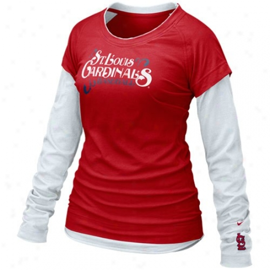 St. Louis Cardinals Attire: Nike St. Louis Cardinals Ladies Red-white Who's My Teaam Double Layer Long Sleeve T-shirt