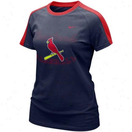 St. Louis Cardinals Attire: Nike St. Louis Cardinals Ladies Navy Blue Center Field T-shirt