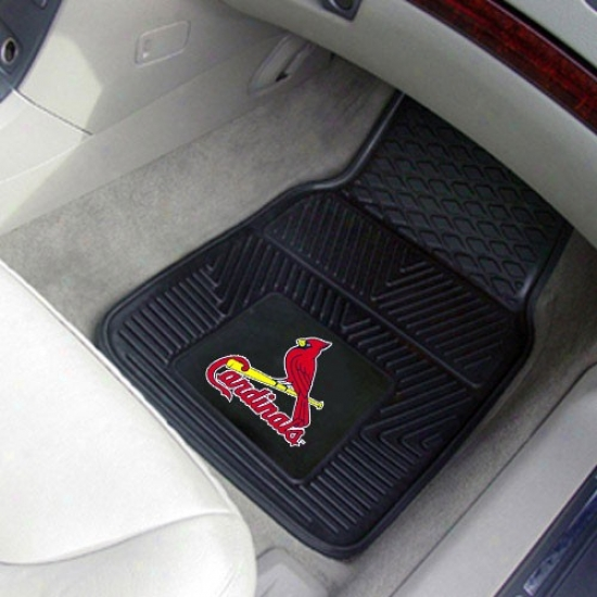 St Louis Cardinals Black 2-piece Vinyl Car Mat Set