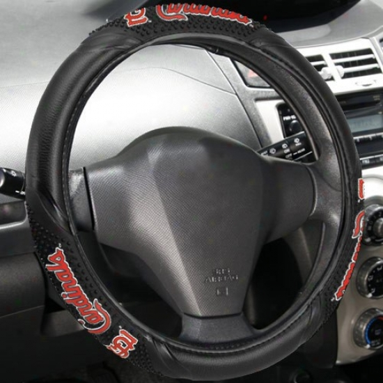 St. Louis Cardinals Black Vinyl Massage Grip Steering Wheel Cover