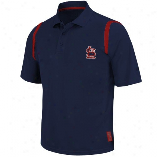St. Louis Czrdinals Clothing: Majestic St. Louis Cardinasl Navy Blue Crusher Synthetic Polo