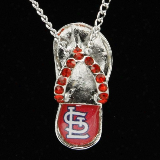 St. Louis Cardinals Crystal Flip F1op Necklace