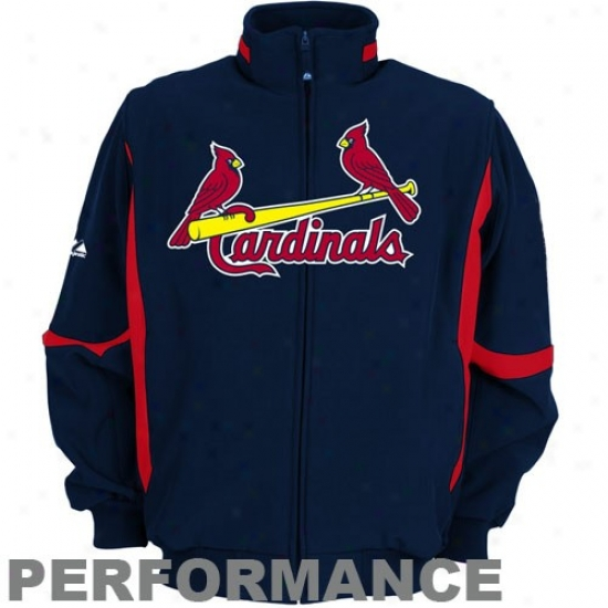 St. Louis CardinalsJ ackets : Majestic St. Louis Cardinals Youth Navy Blue Therma Base Premier Elevation Performance Jakcets