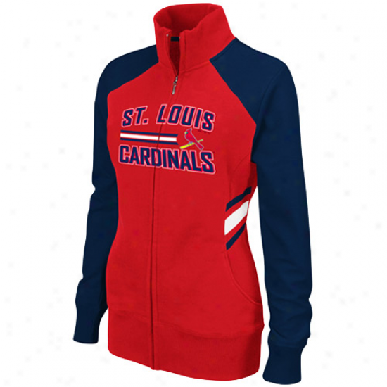 St. Louis Cardinals Jackets : Majestic St. Louis Cardinals Ladies Red-navy Azure The Stretch Track Jackets